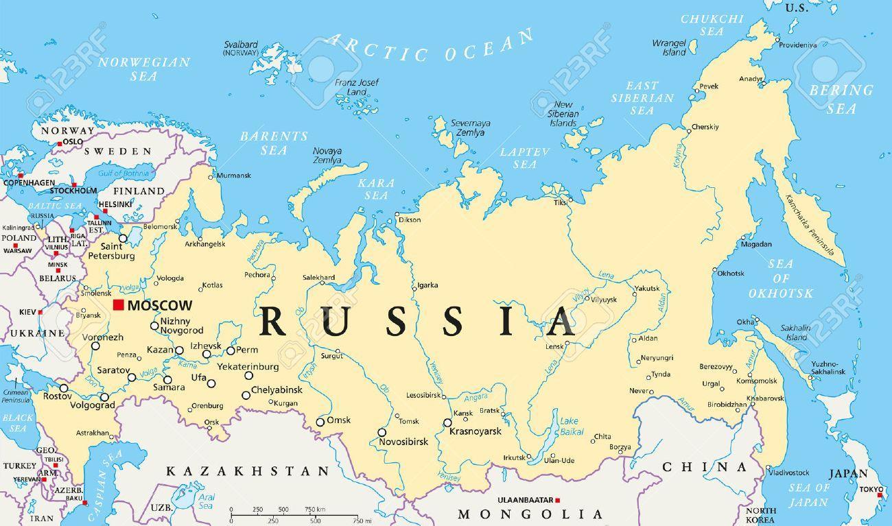 Glavni Grad Rusije Karta Rusije Kartica Kapitala Istocna Europa