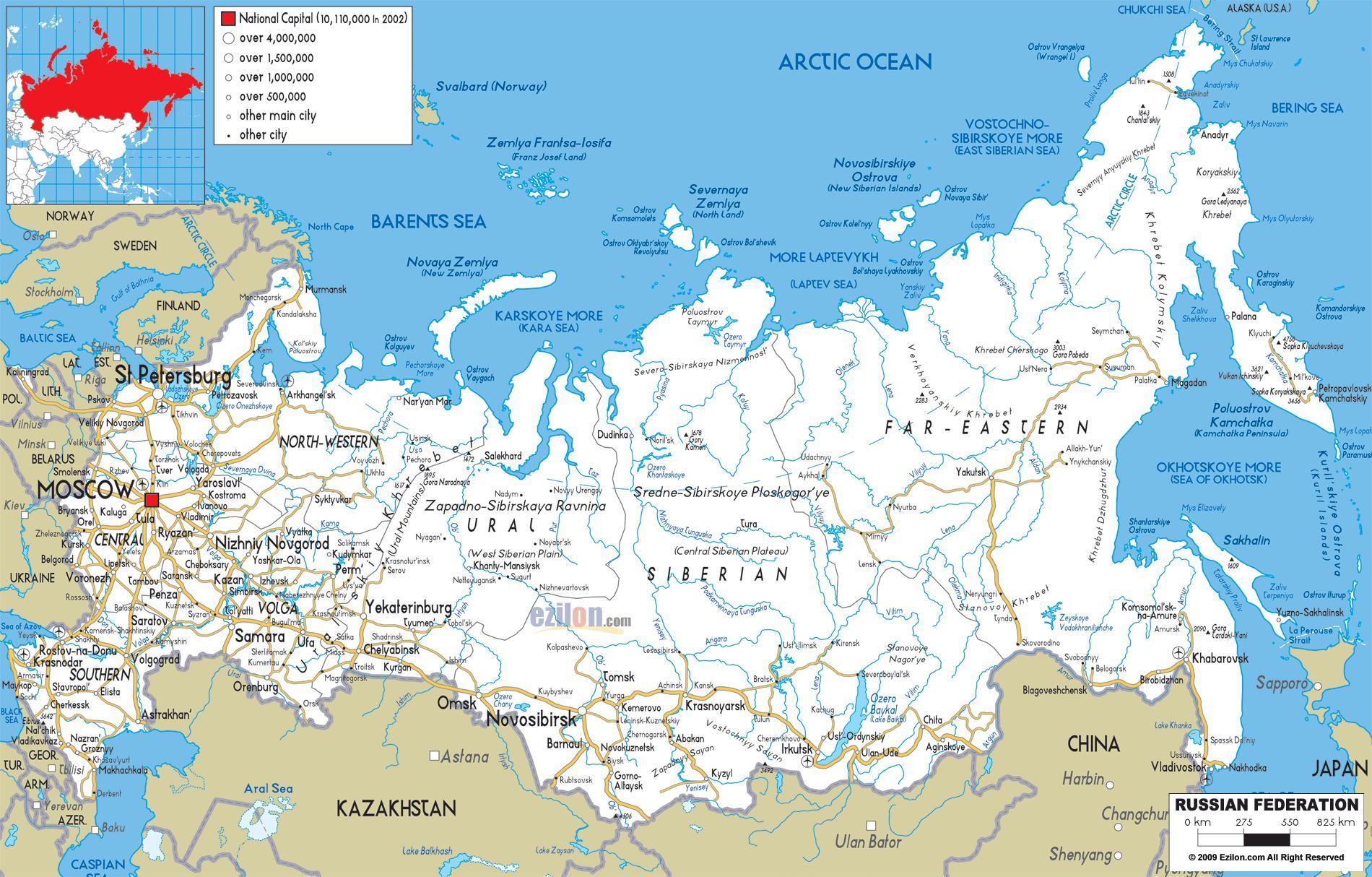 Karta Cesta Rusija Ruski Road Map Istocna Europa Europa