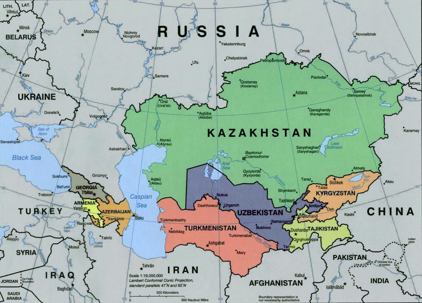 Rusiji I Srednjoj Aziji Karta Rusije I Sredisnje Azije Istocna