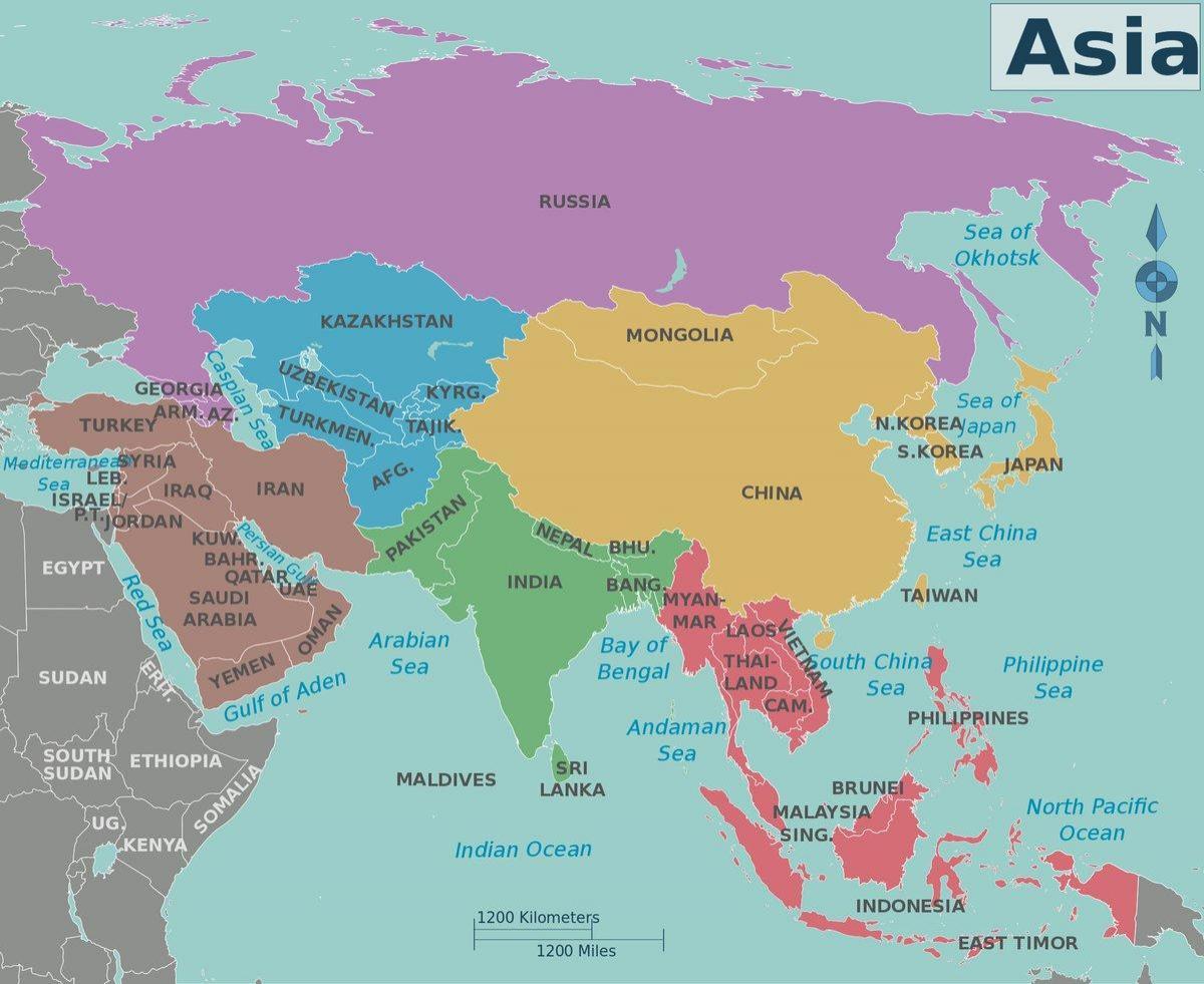 Azija I Rusija Karta Azije I Rusije Istocna Europa Europa