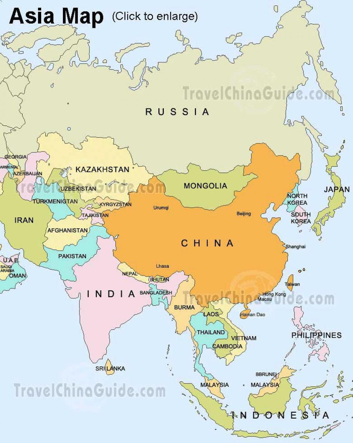 karta azije Karta Rusiji i Aziji   Rusija karta Azije (Istočna Europa   Europa) karta azije