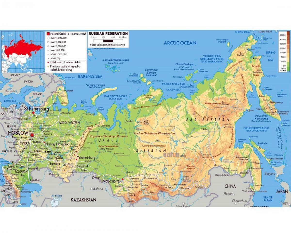 Rusija I Republika Fizicke Karti Rusije I Republike Fizicka Karta
