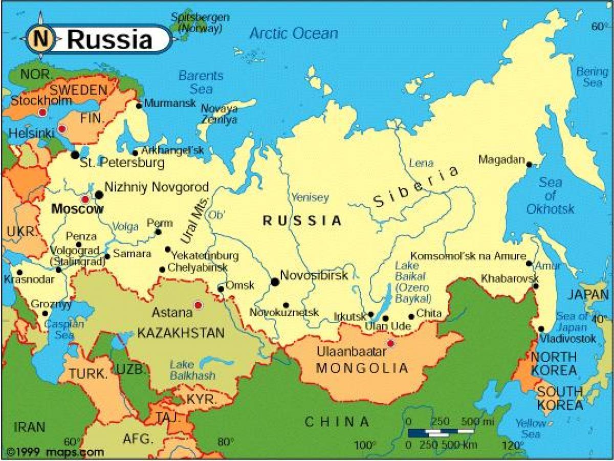 Rusija Karta Rusije Istocna Europa Europa